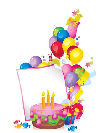Bright Holiday composition of cake, balloons, gift boxes, confetti,, sweets, Streamer, and a sheet of paper for your text congratulations