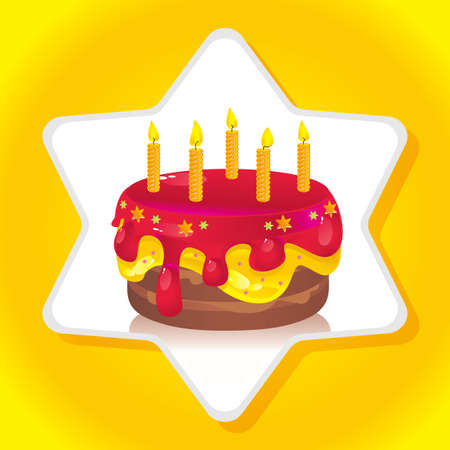 colorful birthday iced cake with candles Vector