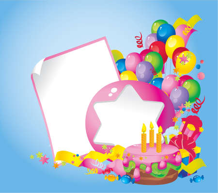 Bright Holiday composition of  cake, balloons, gift boxes, confetti, sweets, Streamer and  Frame for your text congratulations Vector