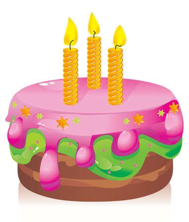 キャンドルとカラフルな誕生日ケーキ