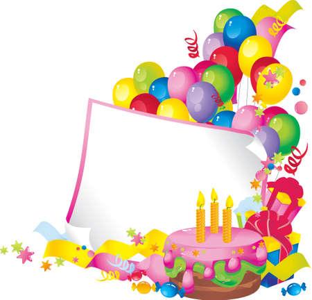 felicitaciones de cumplea�os: La composici�n de vacaciones brillante de la torta, globos, cajas de regalo, confeti, serpentinas, dulces, y una hoja de papel para su texto felicitaciones