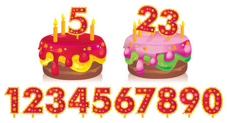 9 year old: birthday cake with candles and a set of numbers for your dates Illustration