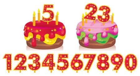 2 to 3 years: torta di compleanno con le candele e una serie di numeri per le date Vettoriali