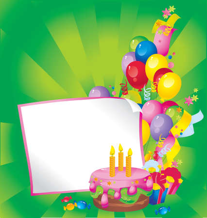 slick: Bright Holiday composition of cake, balloons, gift boxes, confetti,, sweets, Streamer, and a sheet of paper for your text congratulations