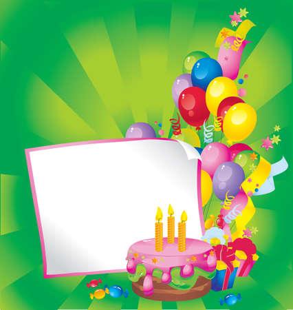 decorando: La composici�n de vacaciones brillante de la torta, globos, cajas de regalo, confeti, serpentinas, dulces, y una hoja de papel para su texto felicitaciones
