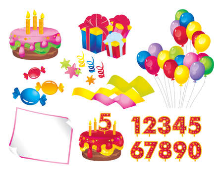 0 1 year: celebration set  a cake with candles, gift boxes, balloons, candy, stars, ribbons, paper, figures for dates