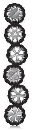 auto-wiel met lichtmetalen velgen en ruwe rubber banden Vector Illustratie