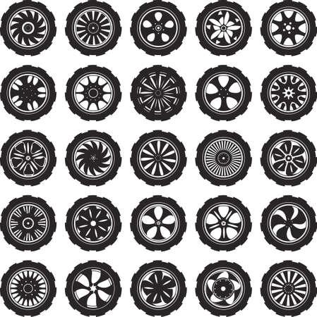 合金ホイールとタイヤの黒いシルエット自動車ホイール  イラスト・ベクター素材
