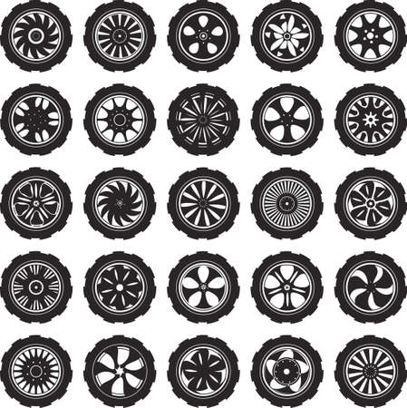 spare part: black  silhouette  automotive wheel with alloy wheels and tires
