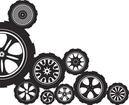 auto parts: black  silhouette  automotive wheel with alloy wheels and tires