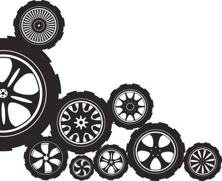 piezas coche: rueda silueta de color negro del automóvil con llantas de aleación y neumáticos