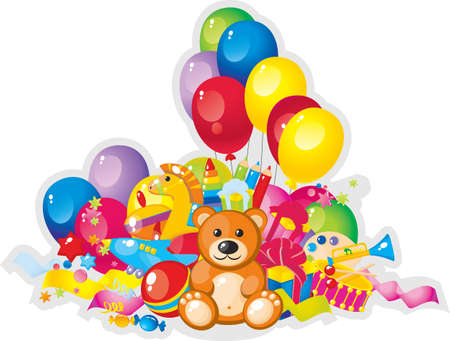 colorful children toys and balloons