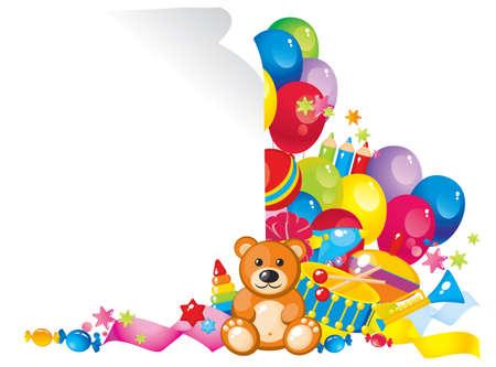 Buntes Kinderspielzeug und Rahmen für Ihren Text Standard-Bild - 12741571