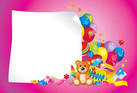 Buntes Kinderspielzeug und Rahmen für Ihren Text Standard-Bild - 12741591