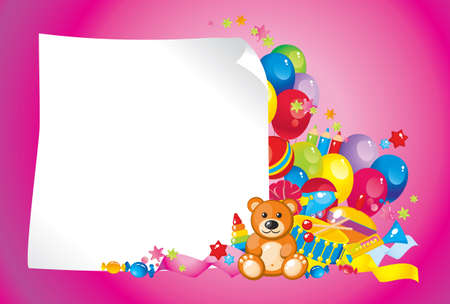 balloons teddy bear: colorful children toys and frame for your text Illustration