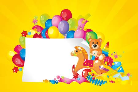 colorful children toys and frame for your text Vector