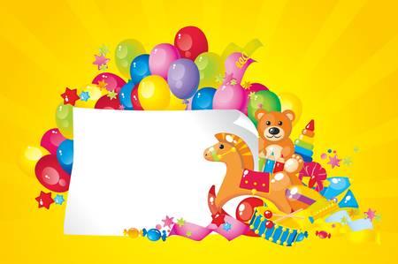 place for children: juguetes de colores y el marco para el texto Vectores