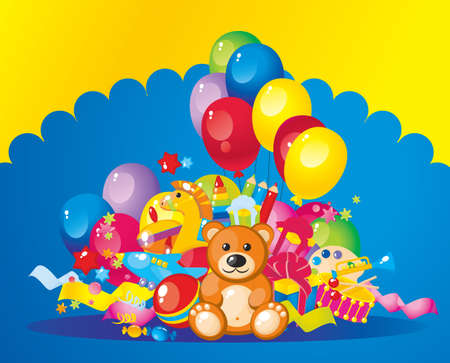 fife: colorful children toys and balloons