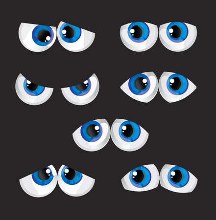 globular: cartoon big eyes with a different look on a black background Illustration