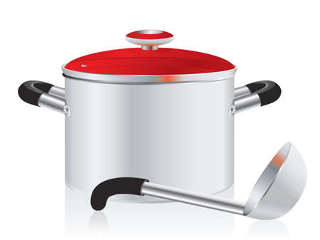 stew pot: metallic pan, covered with lid and ladle on a white background