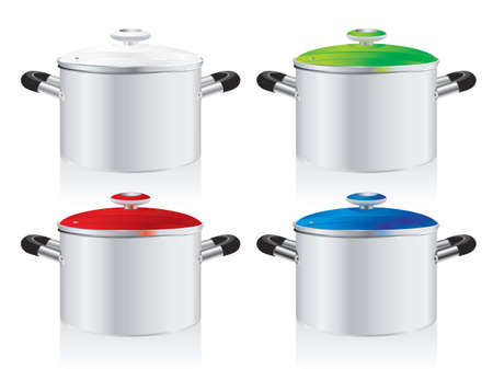 stew pot: set of metallic pans, covered with color lid  Illustration