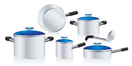 set of metallic pans, covered with color lid  Illustration