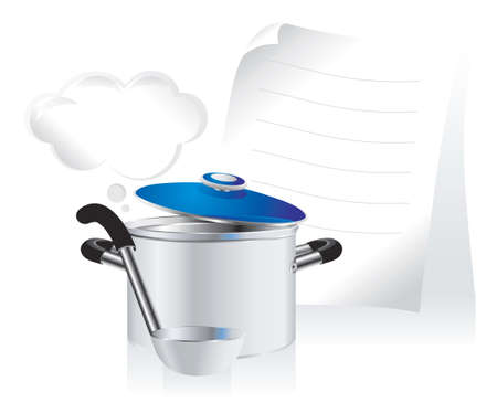 plated: metallic pan, covered with lid, ladle  and white sheet of paper for your text Illustration