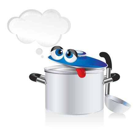 stainless steel kitchen: funny cartoon -  weary pan with a ladle Illustration