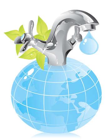 꼭지: 물 - 천연 자원의 보존에 대한 개념 일러스트