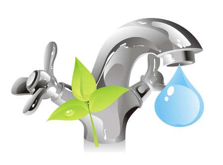 conserve: concept sur la conservation des ressources naturelles - l'eau Illustration