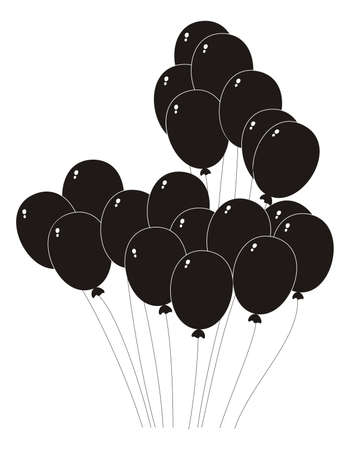 slick: illustration - black silhouette of a balloons on a white background Illustration