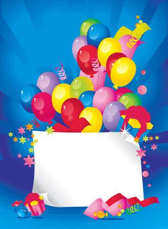 place for children: Composici�n Holiday brillante de globos, cajas de regalo, confeti, serpentinas, dulces, y una hoja de papel para el texto felicitaciones