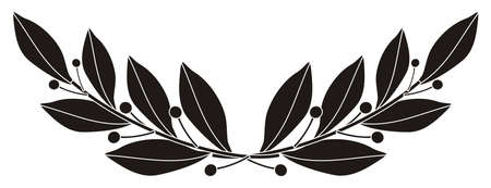 laurel leaf: illustration - black silhouette of a laurel branch Illustration