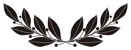 laurel branch: illustration - black silhouette of a laurel branch Illustration