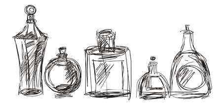 black line drawing of cosmetic bottles on a white background Vettoriali