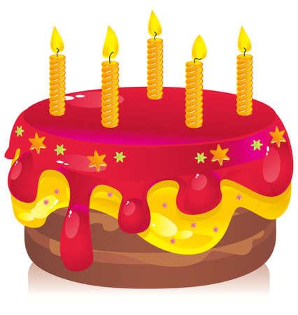 gateau anniversaire: gâteau d'anniversaire coloré avec des bougies Illustration