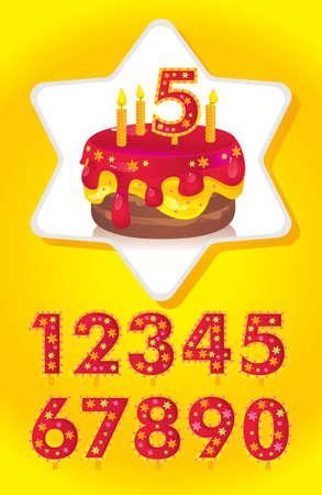 torta con candeline: torta di compleanno con le candele e una serie di numeri per le date Vettoriali