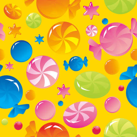 Seamless background with bright multi-coloured sweets and sugar candies Stock Vector - 16194509