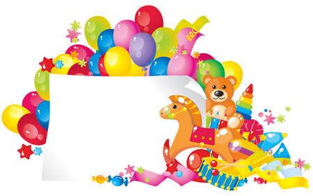 colorful children toys and frame for your text Stock Illustratie