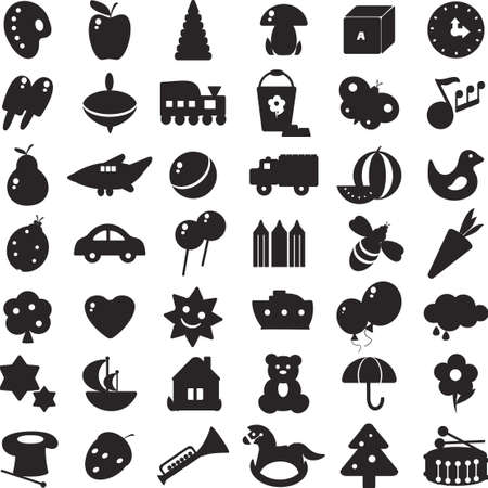 a set of black silhouettes of pictures for children - toys and different symbols