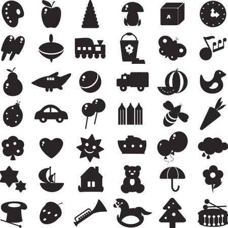 oyuncak: oyuncaklar ve farklı semboller - Çocuklar için resim siyah siluetleri bir dizi