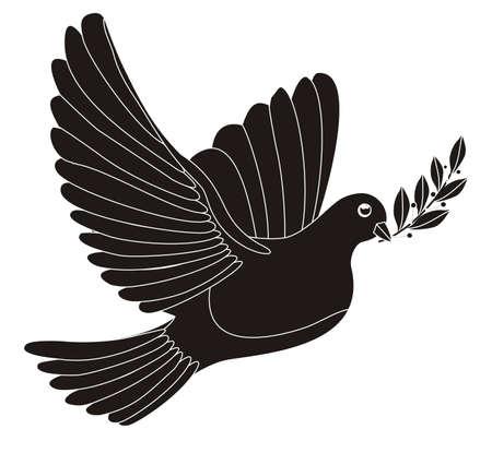 paloma de la paz: Ilustración - silueta en negro de una paloma de la paz con las hojas de laurel
