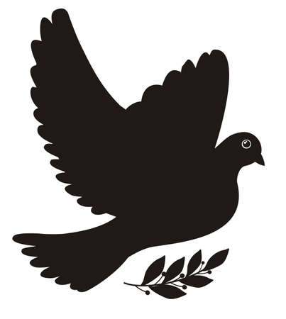 Illustration - black silhouette of a peace dove with laurel leaves Illustration