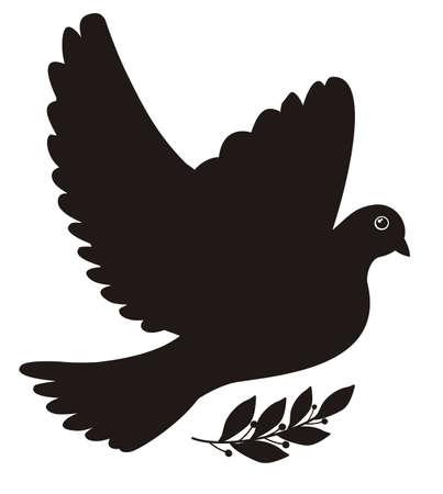 tollas: Illusztráció - fekete sziluettje egy béke galamb babérlevél