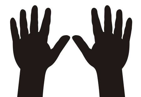 little finger: illustration - black silhouette child hands with five fingers spread