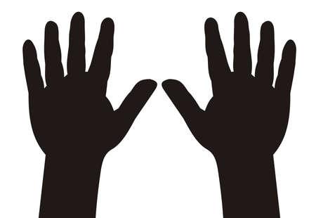 personne seule: illustration - noir silhouette des mains d'enfant avec cinq doigts �cart�s