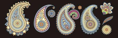 paisley: elementi tradizionali asiatici Paisley su uno sfondo nero Vettoriali