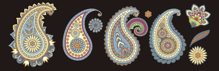 traditional Asian elements Paisley on a black background Ilustracja