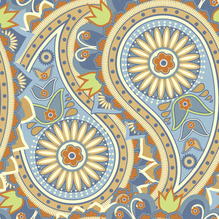 ocher: Seamless pattern based on traditional Asian elements Paisley