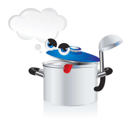 ladle: grouchy cartoon pan with a ladle